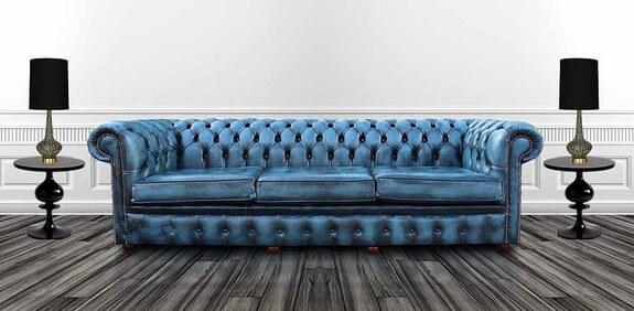 Blue Leather Sofas | Modern Home Interior