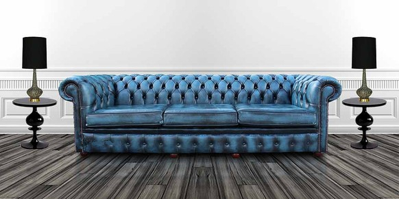 Chesterfield 4 Seater Settee Antique Blue Leather Sofa Offer 3 Cushion Style