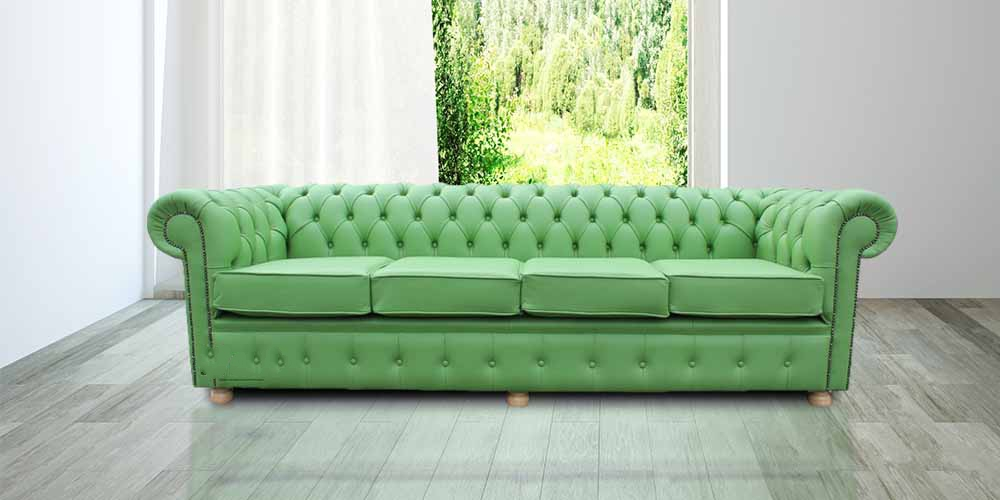 Chesterfield 4 Seater Settee Apple Green Leather Sofa