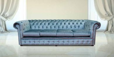 Chesterfield 4 Seater Settee Boutique Sky Velvet Fabric Sofa Offer