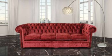 Chesterfield 4 Seater Settee Elegance Ruby Red Velvet Fabric Sofa Offer