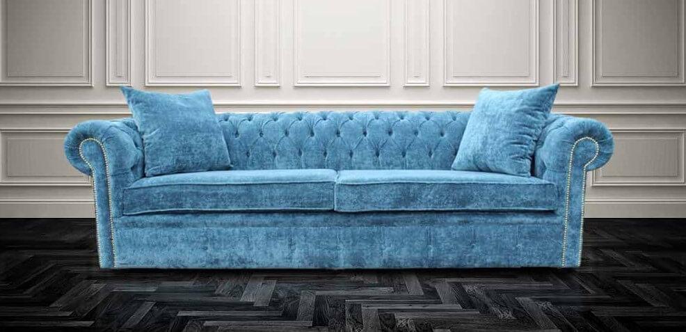 Buy Teal Blue Velvet Chesterfield Sofa Designersofas4u