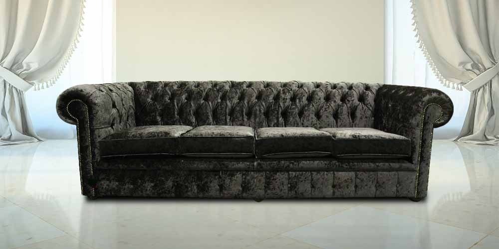 Chesterfield 4 Seater Settee Senso Black Ebony Velvet Fabric Sofa Offer