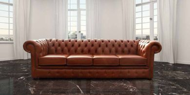 Chesterfield 4 Seater Settee Sofa Old English Saddle Leather