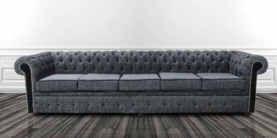 Chesterfield 5 Seater Settee Carlton Charcoal And Black Fabric Sofa Offer