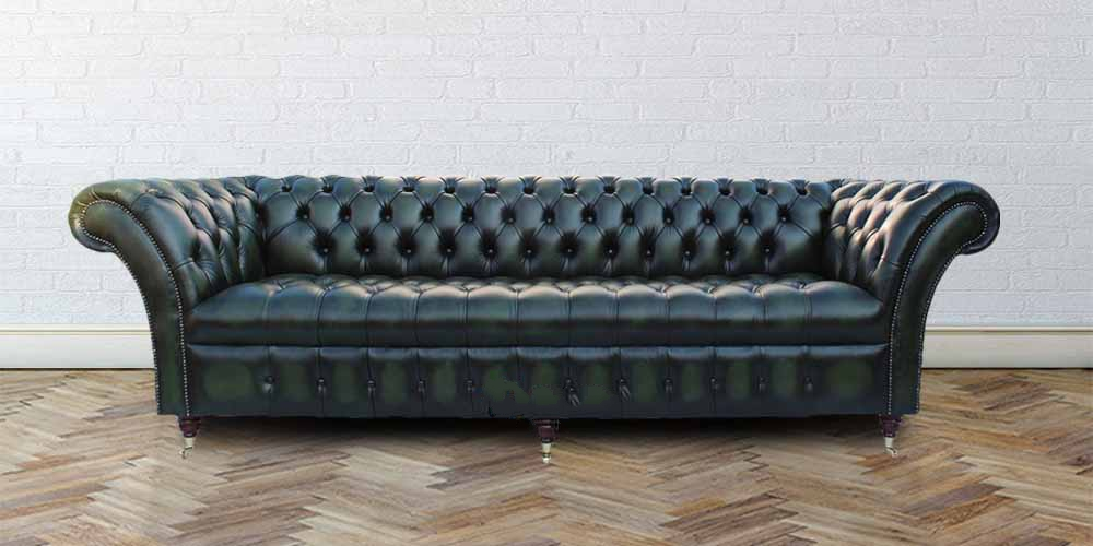 Chesterfield Balmoral 4 Seater Sofa Buttoned Seat Settee Antique Green  Leather
