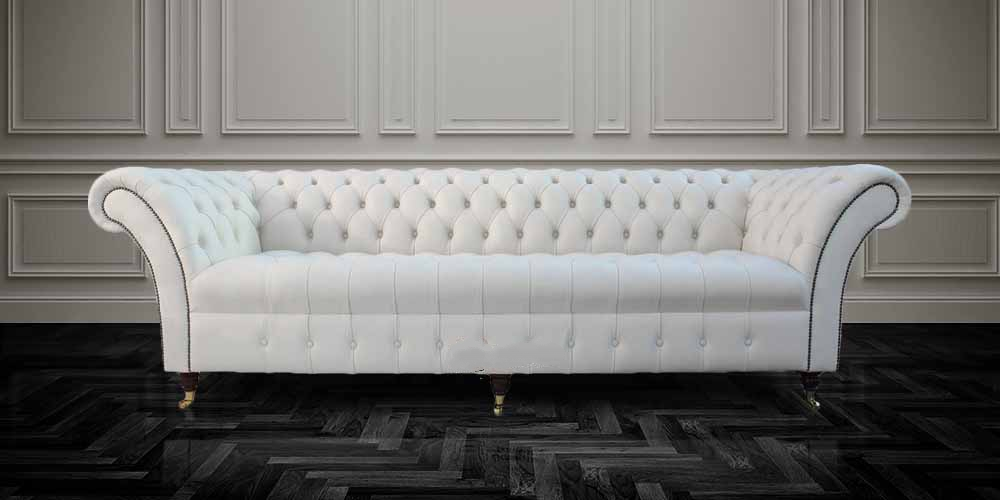 2 Seater Cream Leather Sofa Images Chesterfield 3