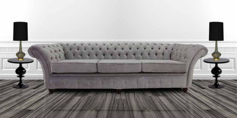 Grey silver fabric Chesterfield sofa | DesignerSofas4U
