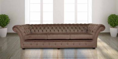 Chesterfield Balmoral 4 Seater Sofa Settee Perla Illusions Velvet Fabric