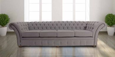 Chesterfield Balmoral 4 Seater Sofa Settee Pimlico Mist Fabric