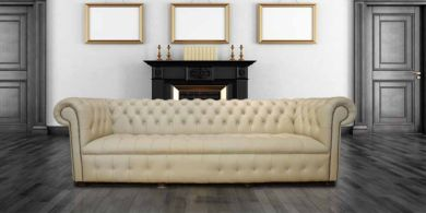 Chesterfield Crystal Diamond 4 Seater Leather Sofa Ivory Leather Offer