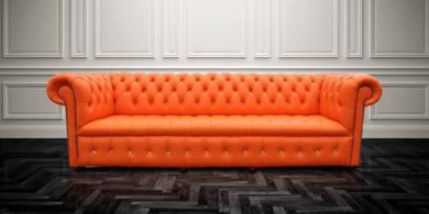 Chesterfield Crystal Diamond 4 Seater Mandarin Orange Leather Sofa Offer