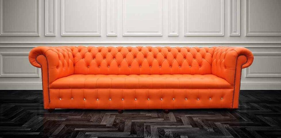 Chesterfield Crystal Diamond 4 Seater Mandarin Orange Leather Sofa Offer