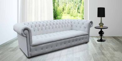 Chesterfield CRYSTAL 4 Seater Winter White Leather Sofa Offer