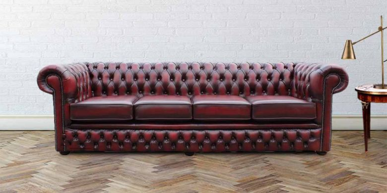 Chesterfield Durham 4 Seater Settee Antique Oxblood Leather Sofa Offer