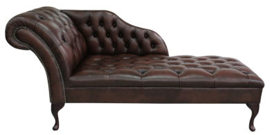 Chesterfield Leather Chaise Lounge Button Seat Day Bed Antique Brown
