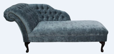 Chesterfield Velvet Chaise Lounge Day Bed Modena Slate Velvet