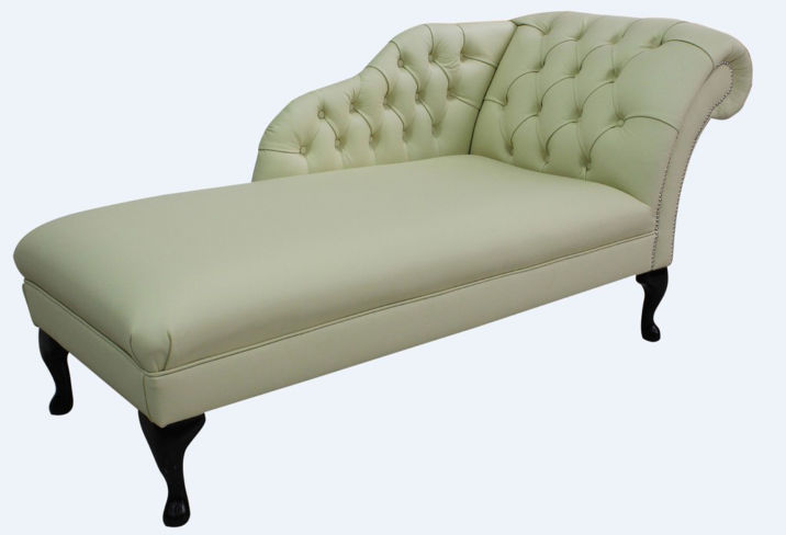 Chesterfield Leather Chaise Lounge Day Bed Cottonseed Cream Leather