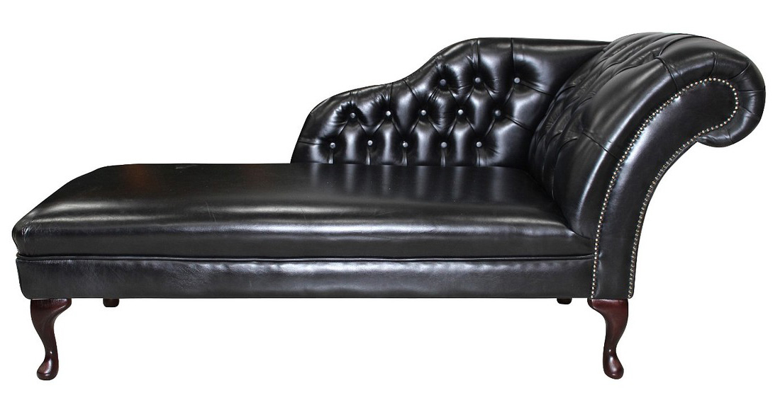 Swell Chesterfield Leather Chaise Lounge Day Bed Old English Black Andrewgaddart Wooden Chair Designs For Living Room Andrewgaddartcom