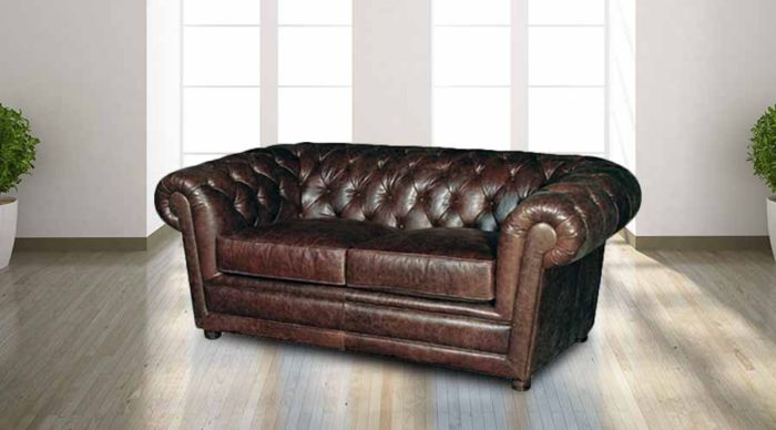 Chamberlain Leather Chesterfield 2 Seater Sofa Settee