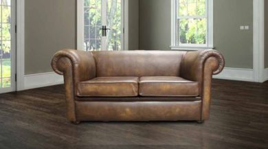 Chesterfield 1930's 2 Seater Settee Antique Gold Leather Sofa