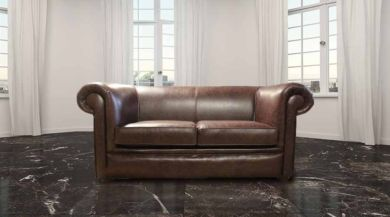 Chesterfield 1930's 2 Seater Settee Old English Dark Brown Leather Sofa