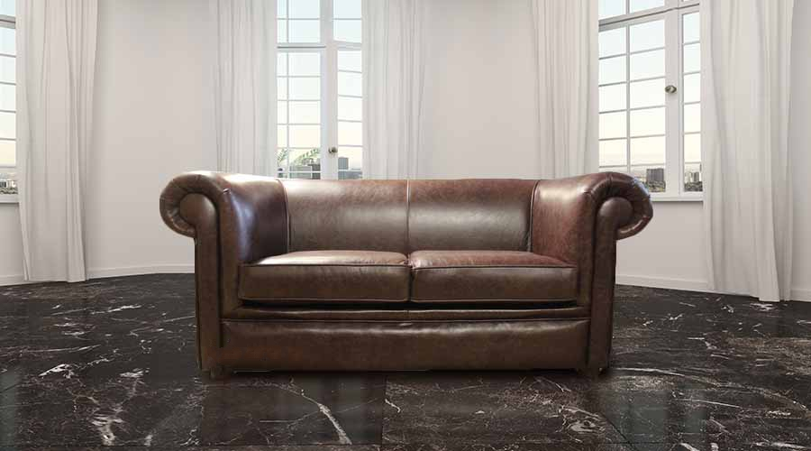 Chesterfield 1930\'s 2 Seater Settee Old English Dark Brown Leather Sofa