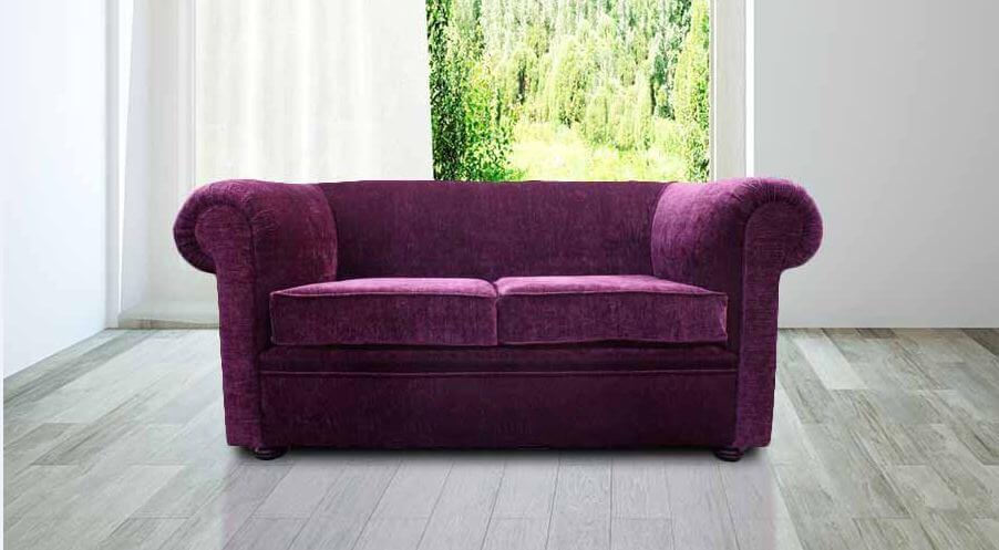 Chesterfield 1930u0027s 2 Seater Settee Purple Aubergine Fabric Sofa