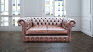 Chesterfield 2 Seater Antique Brown Leather Sofa Offer