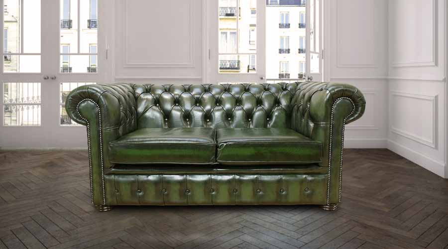 Chesterfield 2 Seater Antique Green Leather Sofa Offer