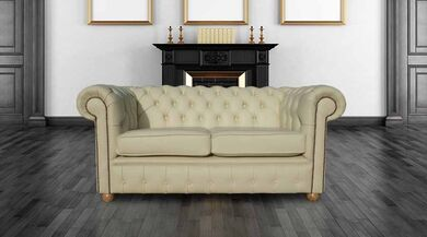 Chesterfield 2 Seater Cream Leather Sofa Offer