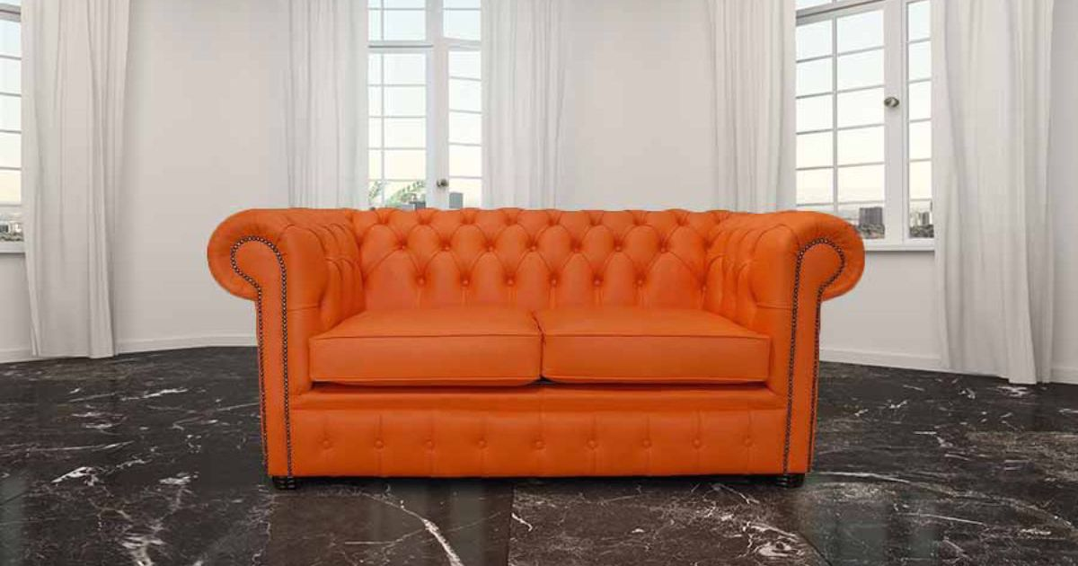 Buy Orange Leather Chesterfield Sofa At Designersofas4u
