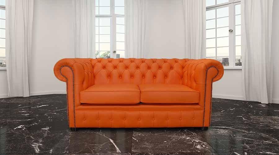 Chesterfield 2 Seater Mandarin Orange Leather Sofa Offer