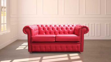 Chesterfield 2 Seater Red  Faux Leather Sofa Offer