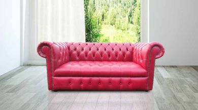 Chesterfield 2 Seater Settee Buttoned Seat Old English Gamay Leather Sofa