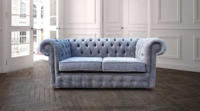 Chesterfield 2 Seater Settee Flamenco Crush Slate Sofa Offer