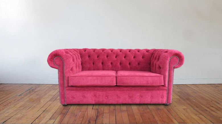 Chesterfield 2 Seater Settee New Jersey Bordeaux Fabric Sofa Offer