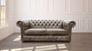 Chesterfield 2 Seater Settee Old English Alga Leather Sofa