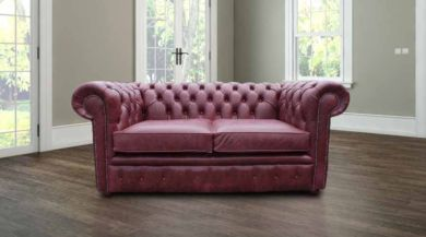 Chesterfield 2 Seater Settee Old English Burgandy Leather Sofa