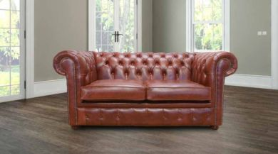Chesterfield 2 Seater Settee Old English Chestnut Leather Sofa