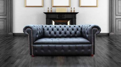 Chesterfield Edwardian 2 Seater Settee Sofa Buttoned Seat Black Leather Silver Studding