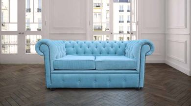 Chesterfield 2 Seater Settee Velluto Duck Egg Fabric Sofa Offer