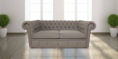 Chesterfield 2 Seater Settee Verity Plain Steel Fabric Sofa Offer
