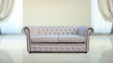 Chesterfield 2 Seater Settee Zoe Plain Parchment Fabric Sofa Offer