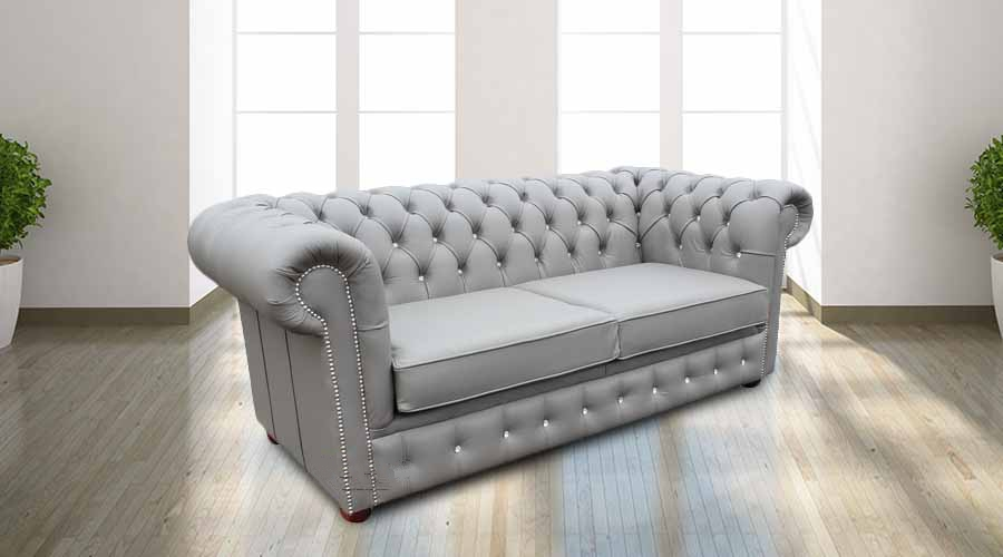 Chesterfield 2 Seater Sofa Bed CRYSTALLIZED™ Diamond Moon Mist Leather Offer
