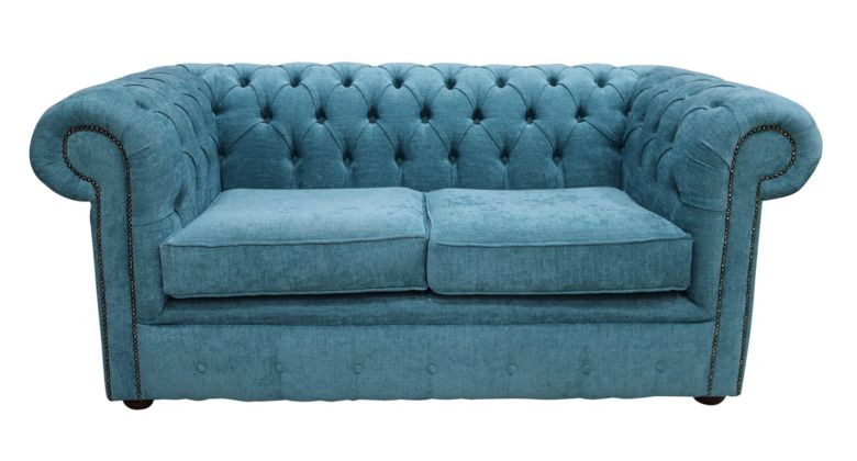 Chesterfield 2 Seater Settee Scenario Kingfisher Blue Fabric Sofa Offer