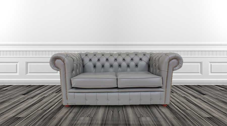 Buy iron grey leather Chesterfield sofa | DesignerSofas4U