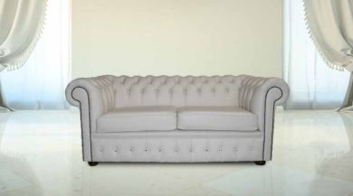 DesignerSofas4U | Buy 2 Seater Crystal White Leather Chesterfield Sofa UK