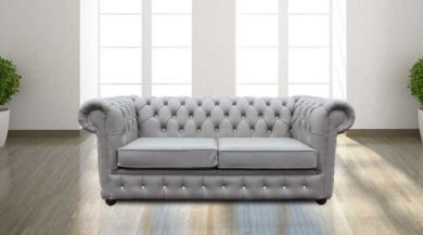 Chesterfield 2 Seater CRYSTALLIZED™ Diamond Moon Mist Leather Sofa Offer
