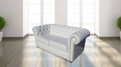 Chesterfield 2 Seater White Leather Sofa Brass Studs